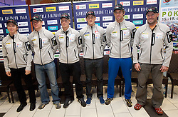 Peter Dokl,  Janez Maric,  Klemen Bauer, Jakov Fak, Vasja Rupnik and Uros Velepec at press conference of Slovenia Biathlon team before new season 2010 - 2011, on November 24, 2010, in Emporium, BTC, Ljubljana, Slovenia.  (Photo by Vid Ponikvar / Sportida)