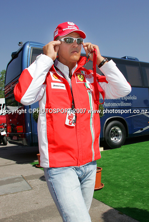 Former F1 driver Michael Schumacher during the Spanish Grand Prix qualifying at Circuit de Catalunya, Barcelona, Spain on 12 May 2007. Photo: ATP/PHOTOSPORT  **NO AGENTS**<br /> <br /> 120507<br />  *** Local Caption ***
