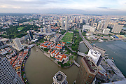 Singapore. Central Business District seen from Altitude restaurant and bar at the 61st and 62nd floor of One Raffles Place.