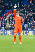 Chelsea goalkeeper Kepa Arrizabalaga (1) points to the crowd after the final whistle is blown during the Premier League match between Crystal Palace and Chelsea at Selhurst Park, London, England on 30 December 2018.