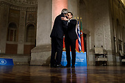 Paolo Gentiloni and Emmanuel Macron. Summit of the Southern European Union Countries at Villa Madama in Rome 10 January 2017. Christian Mantuano / OneShot