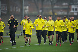 LIVERPOOL, ENGLAND, Wednesday, March 16, 2011: Liverpool's Joe Cole, Andy Carroll, Danny Wilson, Dirk Kuyt and Glen Johnson during a training session at the club's Melwood Training Ground ahead of the UEFA Europa League Round of 16 2nd leg match against Sporting Clube de Braga. (Photo by David Rawcliffe/Propaganda)
