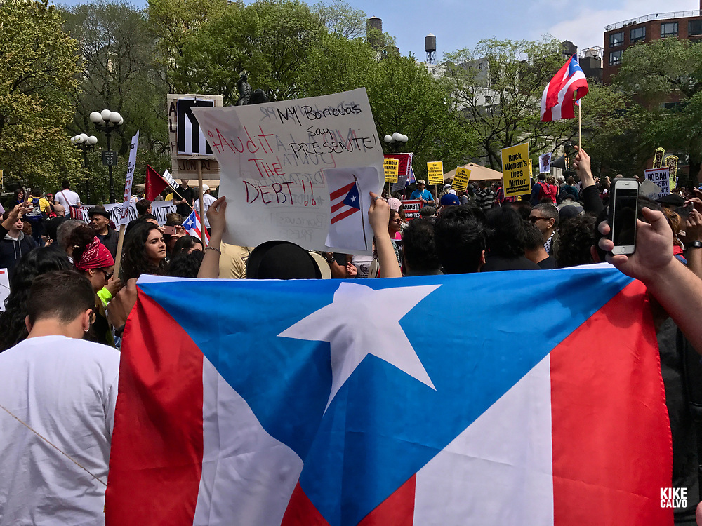 May 1, 2017. New York. Immigrant and union groups marchingin Union Square to mark May Day and protest against President Donald Trump's efforts to boost deportations.