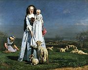 Pretty Baa-Lambs', 1851-1859.  Ford Madox Brown (1821-1893) British painter. Painted outside on Clapham Common, near London. His second wife Emma and their daughter Cathy posed as the mother and child. Landscape Sheep England