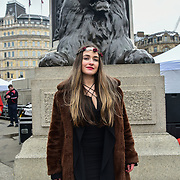 London, UK. 18th March 2018. Michelle Revins of The Voice of Ireland Series 3 performs at  the London's St Patrick's Day 2018 in Trafalgar Square on 19th March 2017.