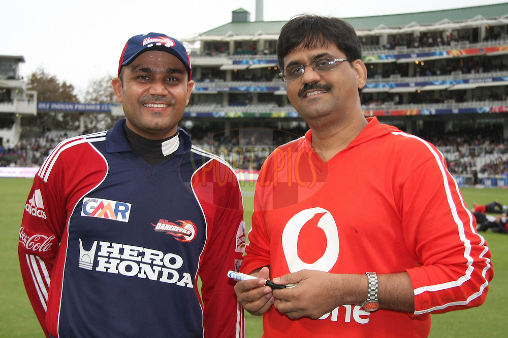 CAPE TOWN, SOUTH AFRICA - 19 April 2009. Virender Sehwag and Vodafone winner during the  IPL Season 2 match between the Deccan Chargers and the  Kolkata knight Riders held at Sahara Park Newlands in Cape Town, South Africa..
