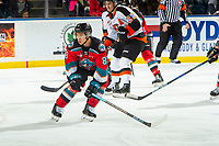 KELOWNA, BC - NOVEMBER 8: Trevor Wong #8 of the Kelowna Rockets tries to block a pass during second period against the Medicine Hat Tigers  at Prospera Place on November 8, 2019 in Kelowna, Canada. (Photo by Marissa Baecker/Shoot the Breeze)