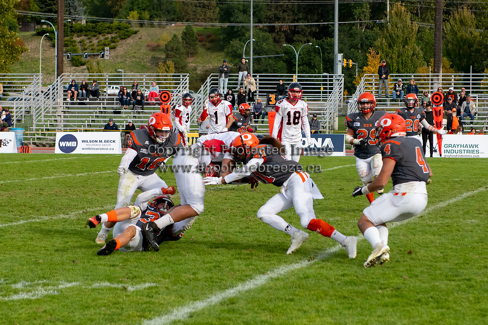 KELOWNA, BC - OCTOBER 6: Nate Adams #41 of Okanagan Sun moves in for the tackle against the VI Raiders at the Apple Bowl on October 6, 2019 in Kelowna, Canada. (Photo by Marissa Baecker/Shoot the Breeze)
