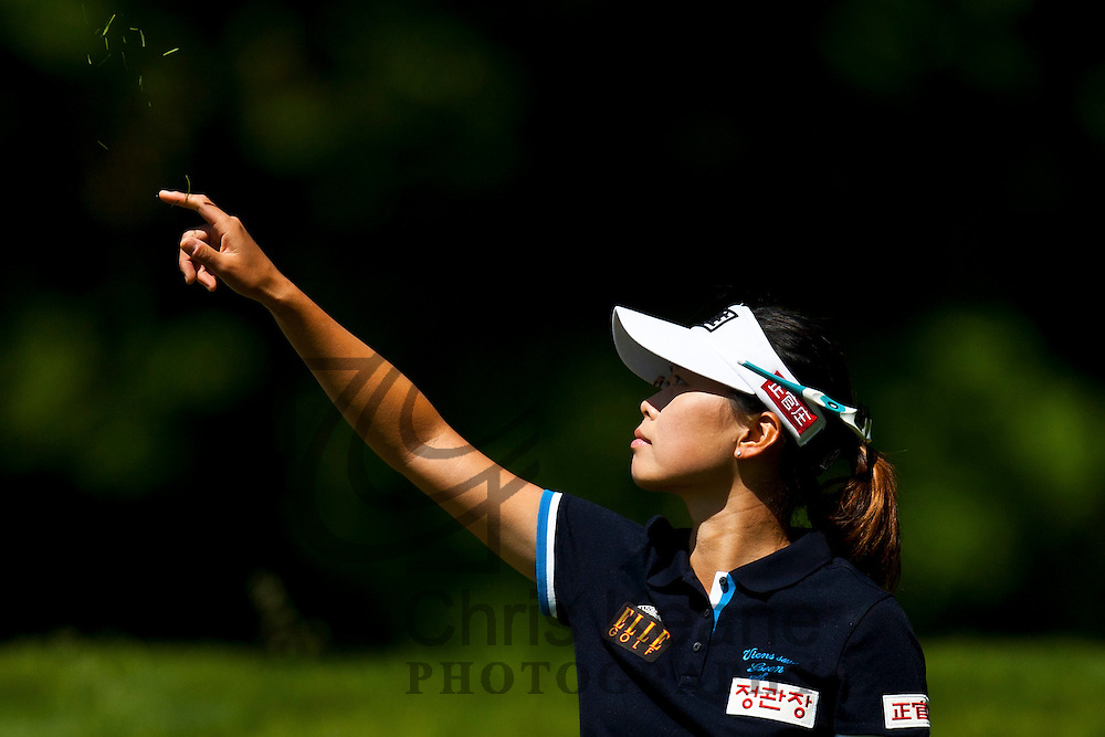 17 May 2012: Sun Young Yoo checks the wind on the third tee during the first round of match play at the Sybase Match Play Championship at Hamilton Farm Golf Club in Gladstone, New Jersey on May 17, 2012.