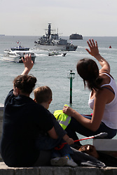 HMS Westminster leaves Portsmouth Naval Base, Portsmouth, Hampshire, this morning as part of a deployment of navy ships to the Mediterranean on a four month deployment that will include a visit to Gibraltar. HMS Westminster will visit Gibraltar during the tour, Hampshire, United Kingdom, Tuesday August 13, 2013. <br /> New tensions between UK and Spain for the sovereignty of the Rock of Gibraltar. Spain claims this strategic point since it ceded to England in the Treaty of Utrecht. Picture by Matt Scott-Joynt / i-Images