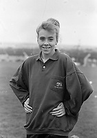 Michele Gregg, Kilnamanagh GAA Club, training at her home ground, 30/09/1989 (Part of the Independent newspapers Ireland/NLI Collection).