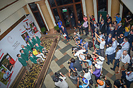 """An overhead view of Takumi KANAYA (JPN) with the """"Green Jackets"""" from Augusta after winning the Asia-Pacific Amateur Championship, Sentosa Golf Club, Singapore. 10/7/2018.<br /> Picture: Golffile 