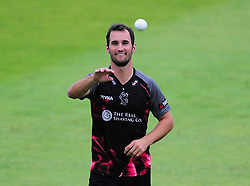 Lewis Gregory of Somerset receive the ball.  - Mandatory by-line: Alex Davidson/JMP - 15/07/2016 - CRICKET - Cooper Associates County Ground - Taunton, United Kingdom - Somerset v Middlesex - NatWest T20 Blast