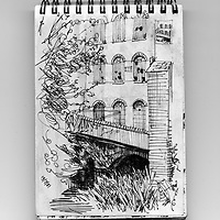 Sketchbook drawing of the old mill in Exeter