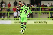 Forest Green Rovers Keanu Marsh-Brown (7) and Forest Green Rovers Drissa Traore (4) celebrate the goal, 1-0 during the Vanarama National League match between Forest Green Rovers and Bromley FC at the New Lawn, Forest Green, United Kingdom on 17 September 2016. Photo by Shane Healey.