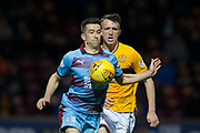 3rd November 2018, Fir Park, Motherwell, Scotland; Ladbrokes Premiership football, Motherwell versus Dundee; Cammy Kerr of Dundee challenges for the ball with Richard Tait of Motherwell
