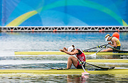 "Rio de Janeiro. BRAZIL.   SUI W1X. Jeannine GMELIN, celebrates qualifying for the women's single sculls final. <br />  2016 Olympic Rowing Regatta. Lagoa Stadium,<br /> Copacabana,  ""Olympic Summer Games""<br /> Rodrigo de Freitas Lagoon, Lagoa. Friday  12/08/2016<br /> [Mandatory Credit; Peter SPURRIER/Intersport Images]"