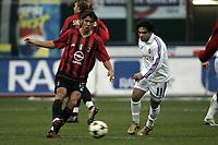 Milano 12-12-2004<br /> <br /> Campionato di calcio Serie A 2004-05<br /> <br /> Milan Fiorentina<br /> <br /> nella  foto Manuel Rui Costa and Fabrizio Miccoli Fiorentina <br /> <br /> Foto Snapshot / Graffiti