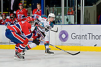 KELOWNA, CANADA, JANUARY 4: Jessey Astles #27 of the Kelowna Rockets takes a shot as the Spokane Chiefs visit the Kelowna Rockets on January 4, 2012 at Prospera Place in Kelowna, British Columbia, Canada (Photo by Marissa Baecker/Getty Images) *** Local Caption ***