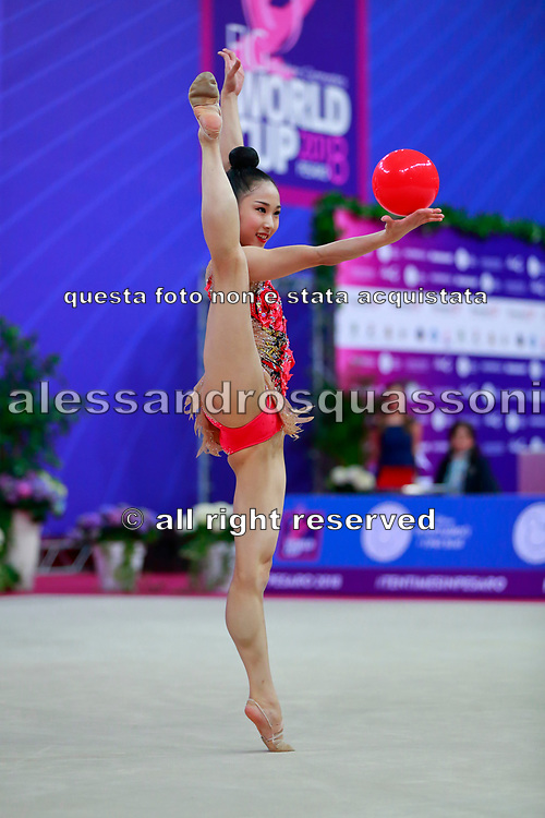 Seo Goeun during qualifying at ball in Pesaro World Cup 13 April, 2018. Goeun is a gymnast from the Republic of Korea born in Seoul, 2001.
