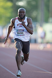 (Guelph, Canada---07 June 2019) Segun Makinde runnig in the 100m at the 2019 Speed River Inferno Track and Field Festival held at Alumni Stadium at the University of Guelph. Copyright image 2019 Sean W Burges / Mundo Sport Images