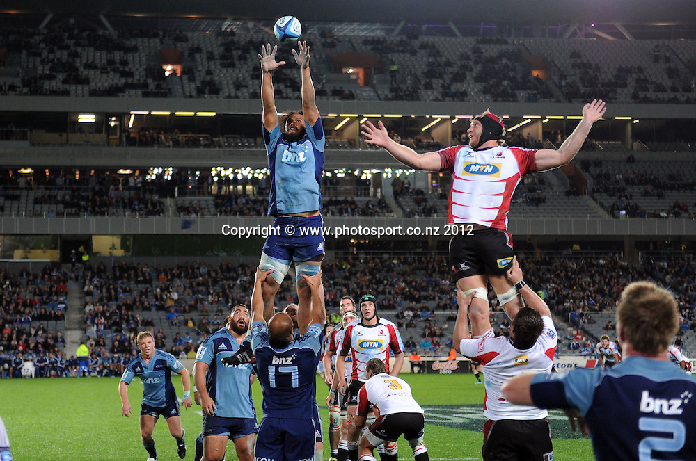 Blues lock Liaki Moli during the Super Rugby match between the Blues and Lions at Eden Park, Auckland, New Zealand on Friday 11 May 2012. Photo: Andrew Cornaga/Photosport.co.nz