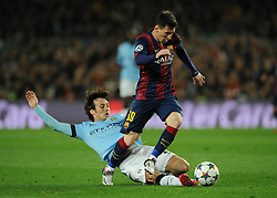 Manchester City's David Silva fouls Barcelona's Lionel Messi - Photo mandatory by-line: Dougie Allward/JMP - Mobile: 07966 386802 - 18/03/2015 - SPORT - Football - Barcelona - Nou Camp - Barcelona v Manchester City - UEFA Champions League - Round 16 - Second Leg