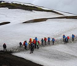 07-07-2014 ISL: Iceland Diabetes Challenge Dag 3, Hrafntinnusker<br /> Trek van Hrafntinnusker naar Aftavatn / groep team