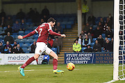 Northampton Town defender Brendan Moloney (2) clears the ball from an open goal  during the EFL Sky Bet League 1 match between Gillingham and Northampton Town at the MEMS Priestfield Stadium, Gillingham, England on 12 November 2016. Photo by Martin Cole.