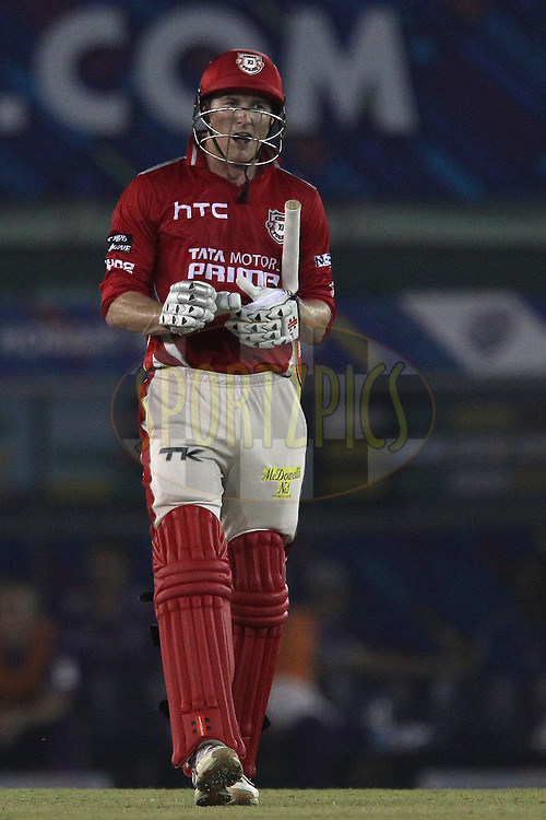 George BAILEY (Captain) of the Kings XI Punjab celebrates the win during match 2 of the Oppo Champions League Twenty20 between the Kings XI Punjab and the Hobart Hurricanes held at the Punjab Cricket Association Stadium, Mohali, India on the 18th September 2014<br /> <br /> Photo by:  Ron Gaunt / Sportzpics/ CLT20<br /> <br /> <br /> Image use is subject to the terms and conditions as laid out by the BCCI/ CLT20.  The terms and conditions can be downloaded here:<br /> <br /> http://sportzpics.photoshelter.com/gallery/CLT20-Image-Terms-and-Conditions-2014/G0000IfNJn535VPU/C0000QhhKadWcjYs