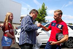 Andreas Weimann of Bristol City meets fans outside Ashton Gate as he arrives for the first matchday of the season - Rogan/JMP - 04/08/2018 - Ashton Gate Stadium - Bristol, England - Bristol City v Nottingham Forest - Sky Bet Championship.