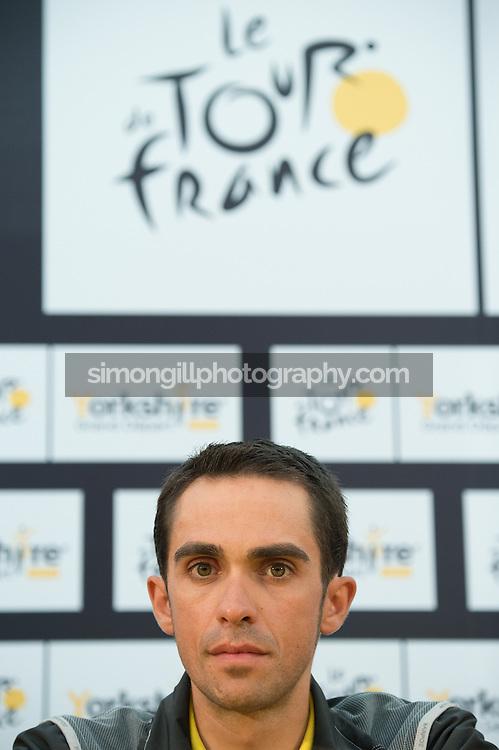 04.07.2014 Leeds, England. Alberto Contador Press Conferences ahead of the 2014 Tour De France Grand Depart.