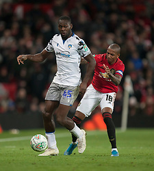 Frank Nouble of Colchester United (L) and Ashley Young of Manchester United in action - Mandatory by-line: Jack Phillips/JMP - 18/12/2019 - FOOTBALL - Old Trafford - Manchester, England - Manchester United v Colchester United - English League Cup Quarter Final