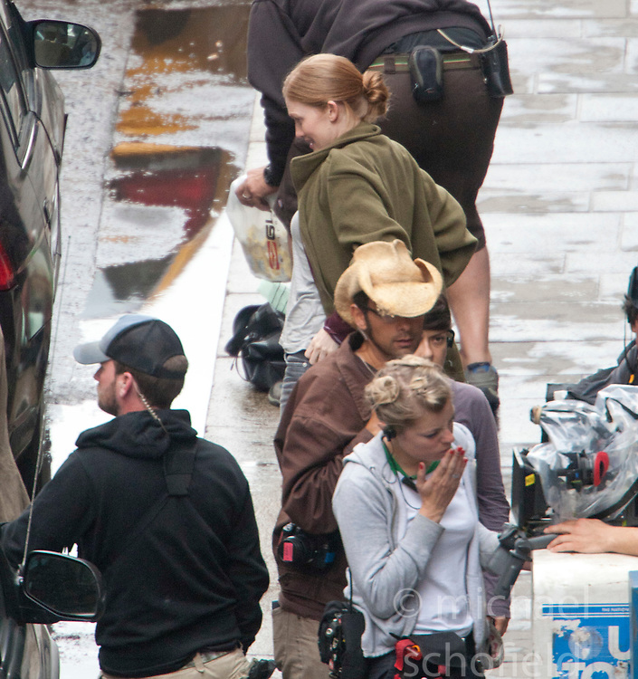 "Day two of filming.  Brad Pitt's co-stars Mireille Enos on the set of the movie ""World War Z"" being shot in the city centre of Glasgow. The film, which is set in Philadelphia, is being shot in various parts of Glasgow, transforming it to shoot the post apocalyptic zombie film.."