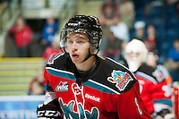 KELOWNA, CANADA - OCTOBER 3: Cole Martin #8 of the Kelowna Rockets skates against the Vancouver Giants at the Kelowna Rockets on October 3, 2012 at Prospera Place in Kelowna, British Columbia, Canada (Photo by Marissa Baecker/Getty Images) *** Local Caption *** Cole Martin;