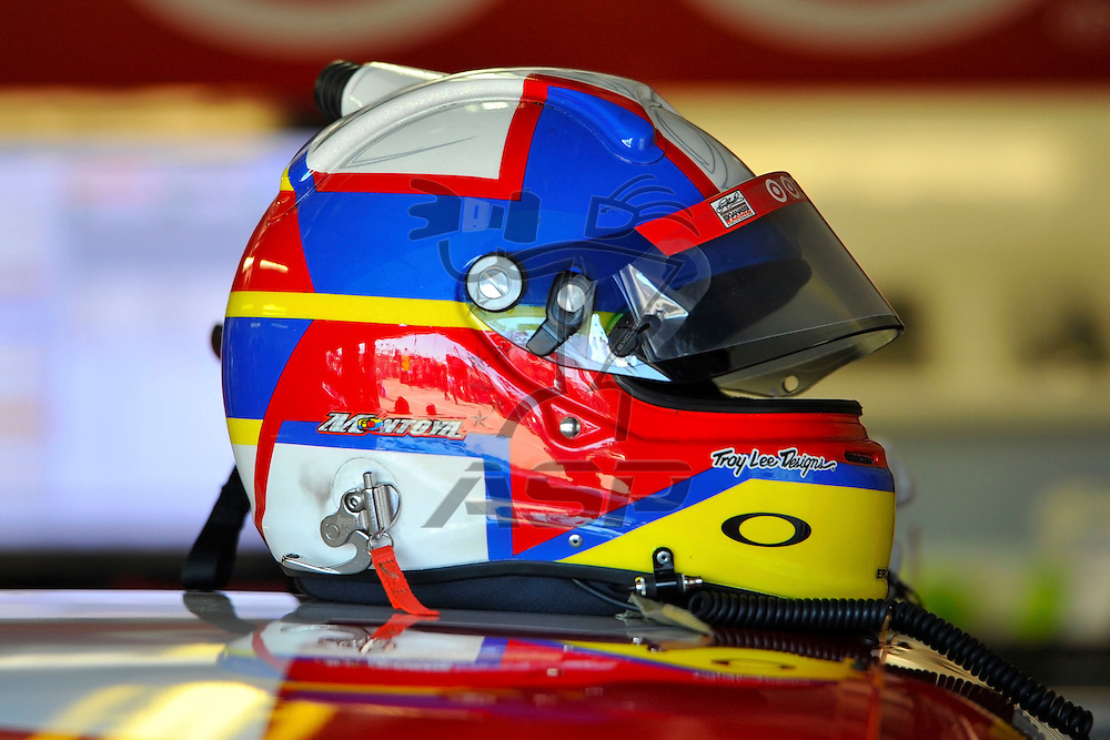 Brooklyn, MI  - Aug 18, 2012: Juan Pablo Montoya (42) helmet sits on the car during practice for the Pure Michigan 400 at Michigan International Speedway in Brooklyn, MI.