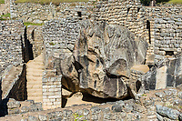 temple of the condor Machu Picchu, Incas ruins in the peruvian Andes at Cuzco Peru