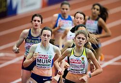 Laura Muir of Great Britain and Konstanze Klosterhalfen of Germany compete in the Women's 1500 metres heats on day one of the 2017 European Athletics Indoor Championships at the Kombank Arena on March 3, 2017 in Belgrade, Serbia. Photo by Vid Ponikvar / Sportida