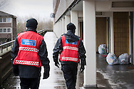 The Aylesbury Estate in South London, UK. Most of the estate, one of Europe's largest, is due to be demolished soon. It houses a disproportionate number of poor people and immigrants. Photo shows Community Wardens on duty on the estate.
