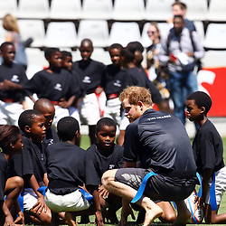 DURBAN, SOUTH AFRICA, December 2 2015 - Prince Harry during the training Session with The Cell C Sharks and meet beneficiaries of rugby exchange scheme between the UK and South Africa. At Growthpoint Kings Park in Durban, South Africa. (Photo by Steve Haag)<br /> images for social media must have consent from Steve Haag