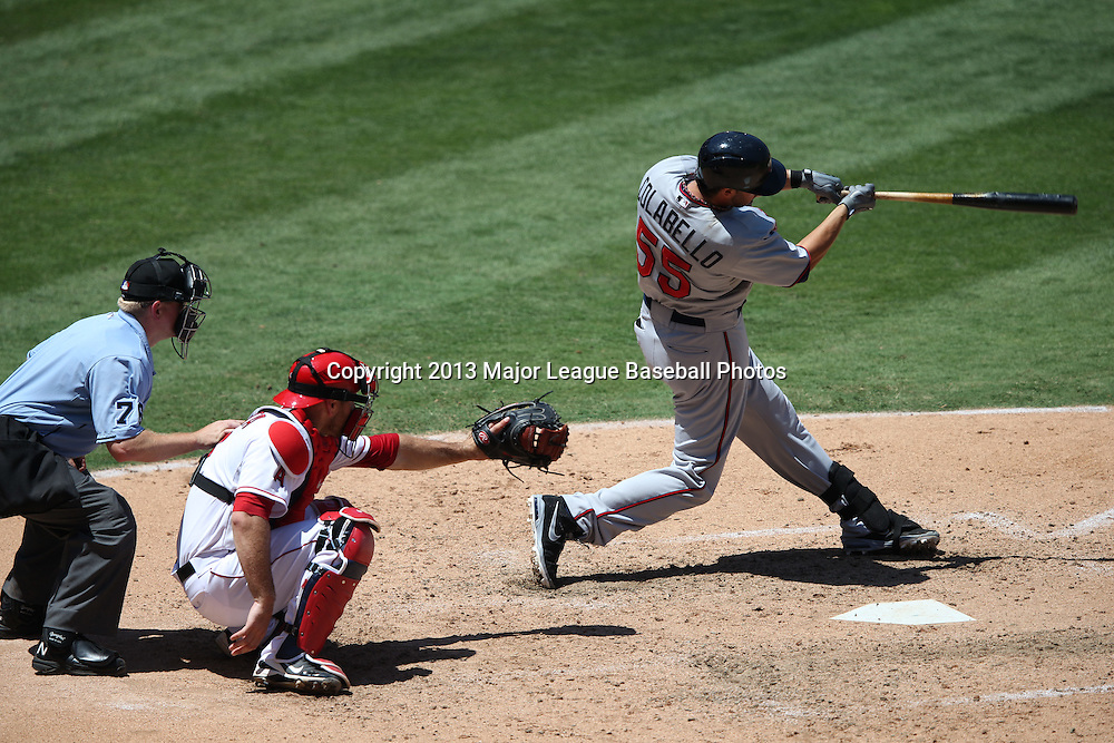 ANAHEIM, CA - JULY 24:  Chris Colabello #55 of the Minnesota Twins bats during the game against the Los Angeles Angels of Anaheim on Wednesday, July 24, 2013 at Angel Stadium in Anaheim, California. The Angels won the game in a 1-0 shutout. (Photo by Paul Spinelli/MLB Photos via Getty Images) *** Local Caption *** Chris Colabello
