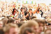 Girls on people's shoulders, Crowds V Festival, Chelmsford, UK 2006