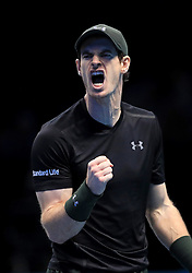 Andy Murray celebrates in his match against Milos Raonic during day seven of the Barclays ATP World Tour Finals at The O2, London.