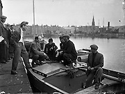 24/06/1959<br /> 06/24/1959<br /> 24 June 1959<br /> Special for Gael Linn -  Lobster Fishing Boats from Carna, Galway arrive at Ringsend, Dublin.