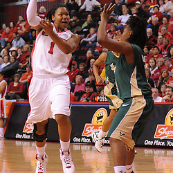 Jan 31, 2009; Piscataway, NJ, USA; Rutgers guard Khadijah Rushdan (1) passes into the paint to teammate center Rashidat Junaid (not pictured) during the first half of South Florida's 59-56 victory over Rutgers in NCAA women's college basketball at the Louis Brown Athletic Center