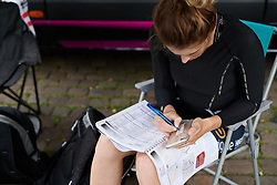 Macey Stewart (AUS) prepares her stem notes at Lotto Thuringen Ladies Tour 2018 - Stage 6, a 137.3 km road race starting and finishing in Gotha, Germany on June 2, 2018. Photo by Sean Robinson/velofocus.com