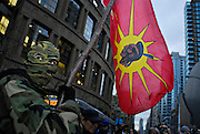 A Mohawk Warrior leads protests at the 2010 Winter Olympics in Vancouver.