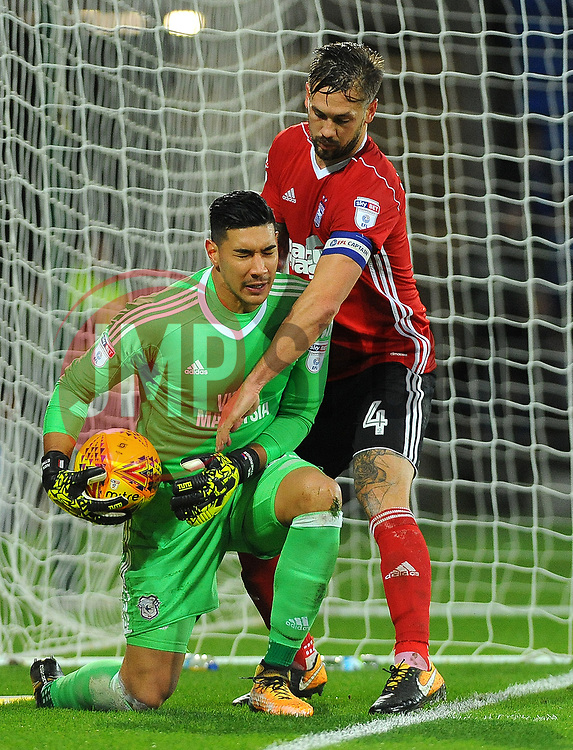Luke Chambers of Ipswich Town tries to grab the ball off Neil Etheridge of Cardiff City - Mandatory by-line: Nizaam Jones/JMP - 31/10/2017 -  FOOTBALL - Cardiff City Stadium- Cardiff, Wales -  Cardiff City v Ipswich  Town- Sky Bet Championship
