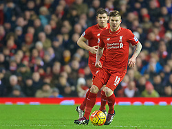 LIVERPOOL, ENGLAND - Sunday, December 13, 2015: Liverpool's Alberto Moreno in action during the Premier League match against West Bromwich Albion at Anfield. (Pic by James Maloney/Propaganda)
