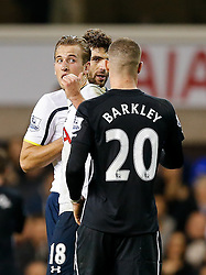 Harry Kane of Tottenham Hotspur gestures to Ross Barkley of Everton after Tottenham win 2-1 - Photo mandatory by-line: Rogan Thomson/JMP - 07966 386802 - 30/11/2014 - SPORT - FOOTBALL - London, England - White Hart Lane - Tottenham Hotspur v Everton - Barclays Premier League.